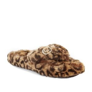 Women's Cheetah Faux Fur Thong Slippers
